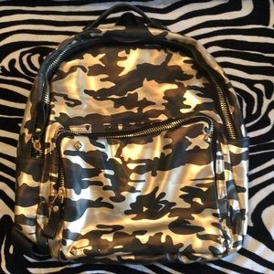 Handbags - Gold Camo fashion backpack purse with gold studs